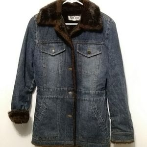 Marvin Richards Faux Fur Lined Jean Style Jacket,